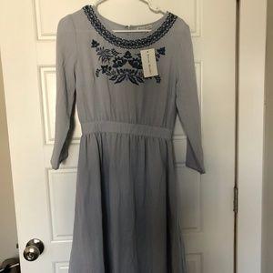 Shop Stevie Midi Embroidered Dress